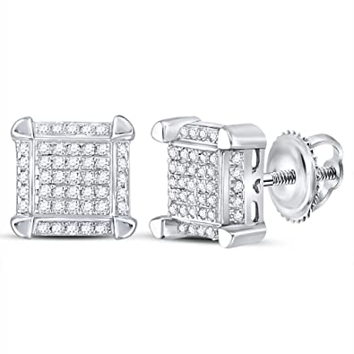 55401e021ac1 Jewels by Lux - Pendientes de oro blanco de 10 quilates para hombre ...