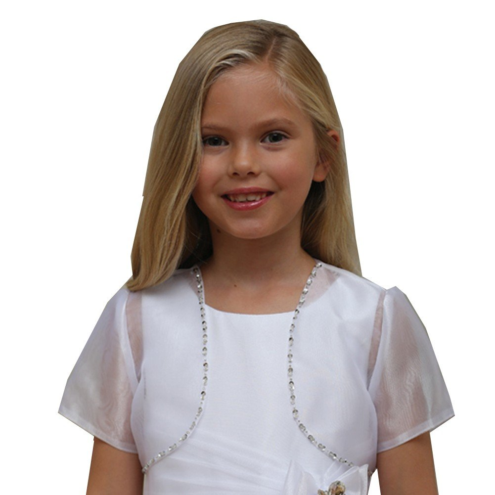 Angels Garment Big Girls White Sheer Glitter Short Sleeved Bolero 16