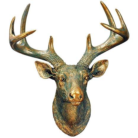 Amazon Com Yjf Bronze Resin Deer Head Faux Taxidermy Animal
