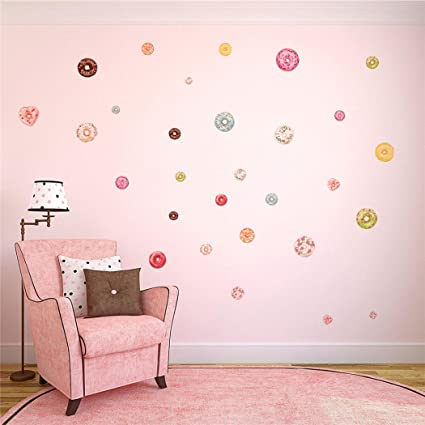 48 Donut Wall Stickers Embossed Wallpaper Wall Decor DIY for Bedroom ...