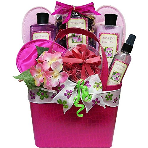 Art of Appreciation Gift Baskets Tickled Pink Peony Spa Bath and Body Gift Basket