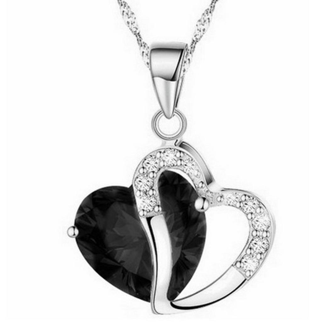 Rhinestone Pendant Necklace MITIY Fashion Women Heart Crystal Rhinestone Silver Chain Pendant Necklace Jewelry (❤️, Black)
