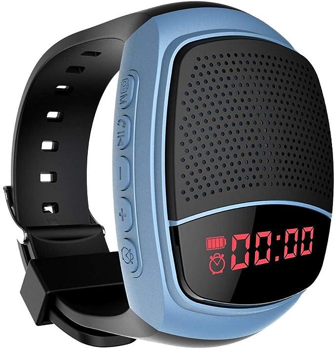 TOX - Reloj de Pulsera inalámbrico, portátil, con Altavoz Bluetooth, Reproductor de MP3 multifunción, Radio FM, Selfie, antipérdida y Tiempo de Espera ...