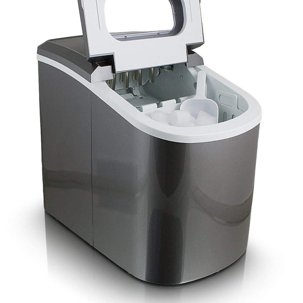 Eiswürfelmaschine Eiswürfelbereiter Eiswürfel Ice Maker Eis Maschine Icemaker (Dunkelgrau) MS-Point