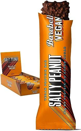 Barebells Barra de alta proteína y baja en carbohidratos, 12 x 55 g de merienda baja en azúcar (vegano, maní salado)