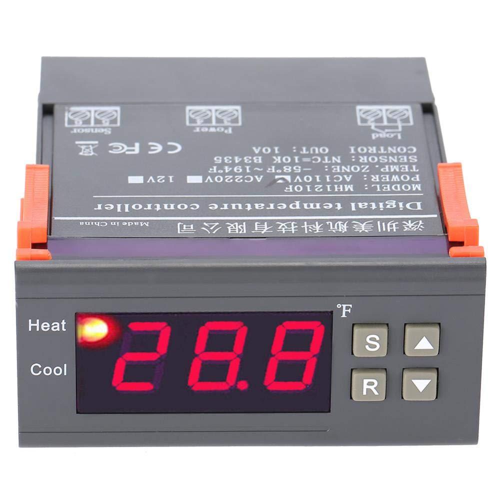 akozon Digital Termostato mh1210 F Digital Regulador de temperatura Termostato -58 ~ 194 ° Fahrenheit Sensor termopar Calefacción o Calefacción ...