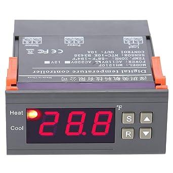 akozon Digital Termostato mh1210 F Digital Regulador de temperatura Termostato -58 ~ 194 ° Fahrenheit