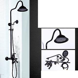 ZHFC Soffione doccia europeo tutto bronzo. Set doccia nero antico. Può sollevare il controllo della temperatura. Retro Faucet Shower