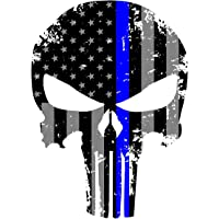 Punisher Skull 5.5 x 4 Inch Tattered Subdued Us Flag Reflective Decal with Thin Blue Line