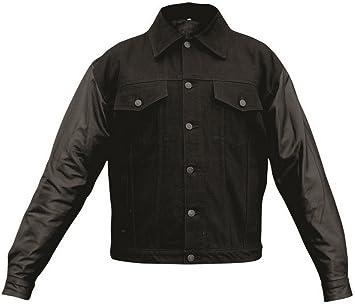 Mens AL2952 14 oz Denim jackets Leather sleeves 3X-Large Black