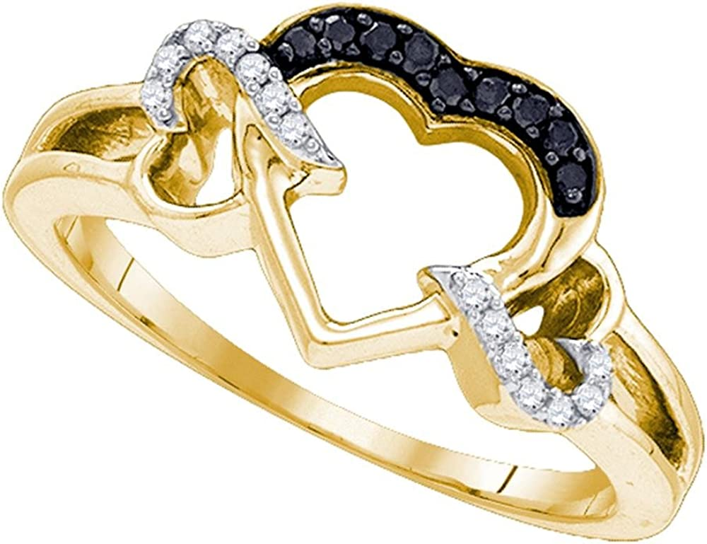 Yellow-tone Sterling Silver Round Black Diamond Heart Love Ring 0.11 Cttw
