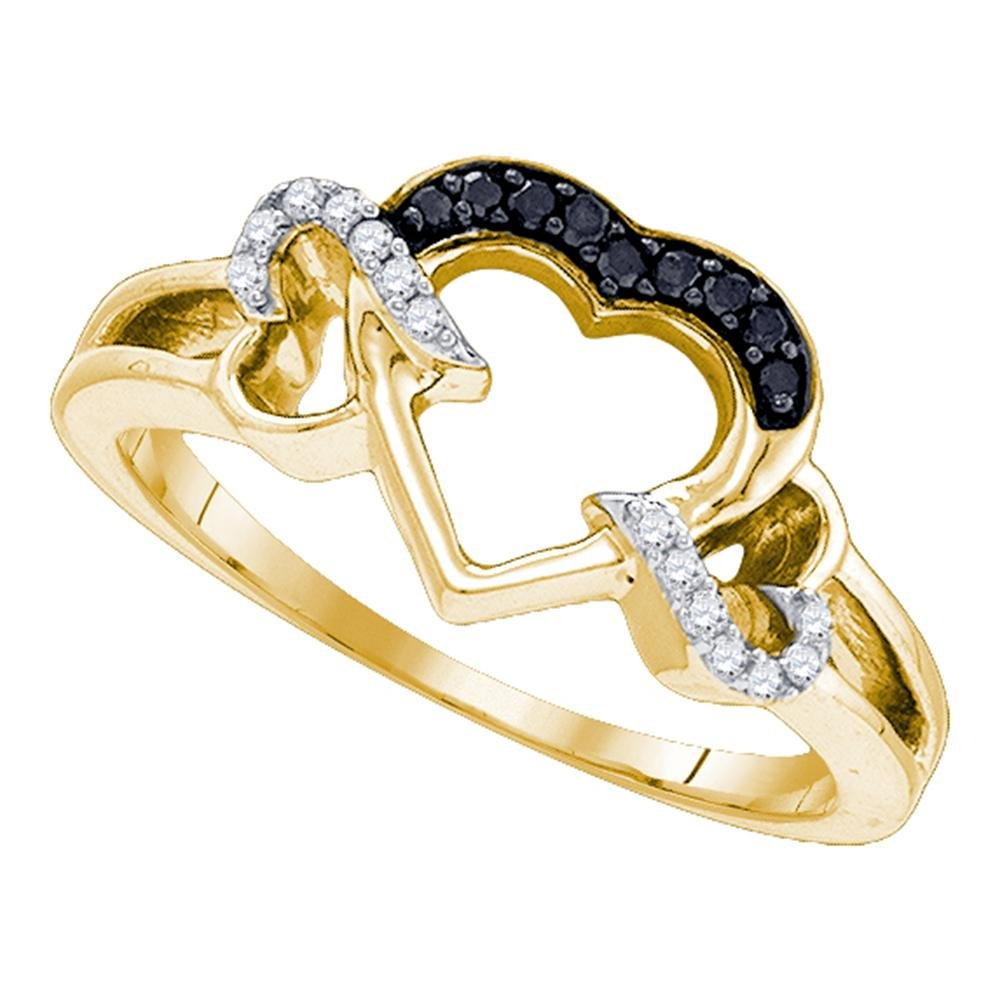 Sterling Silver Black Diamond Heart Ring Promise Love Band Open Design Polished Finish Fancy 1/8 ctw Size 6