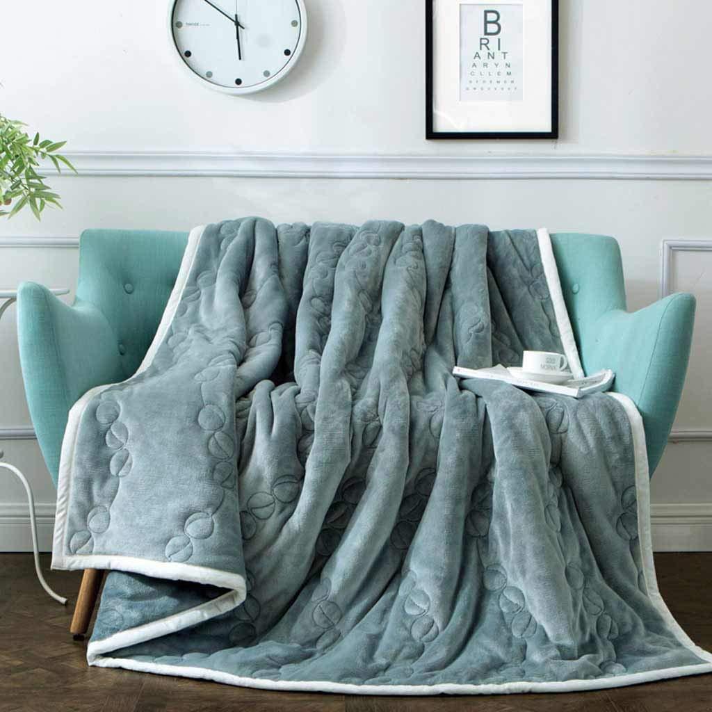 LB-blanket Winter Plus Samtdecke Dicke Doppeldecke grau 150  200cm
