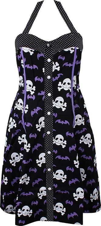 Vintage Style Gothic Skulls And Bats Dress