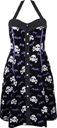 Sourpuss Peggy Bare Bones Dress with Skulls and Bats from Clothing