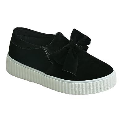 183ecd7c24353 Brand New Womens Bow Trainers Ladies Girls Slip On Sneakers Flatforms Plimsolls  Flat Heels Black Suede