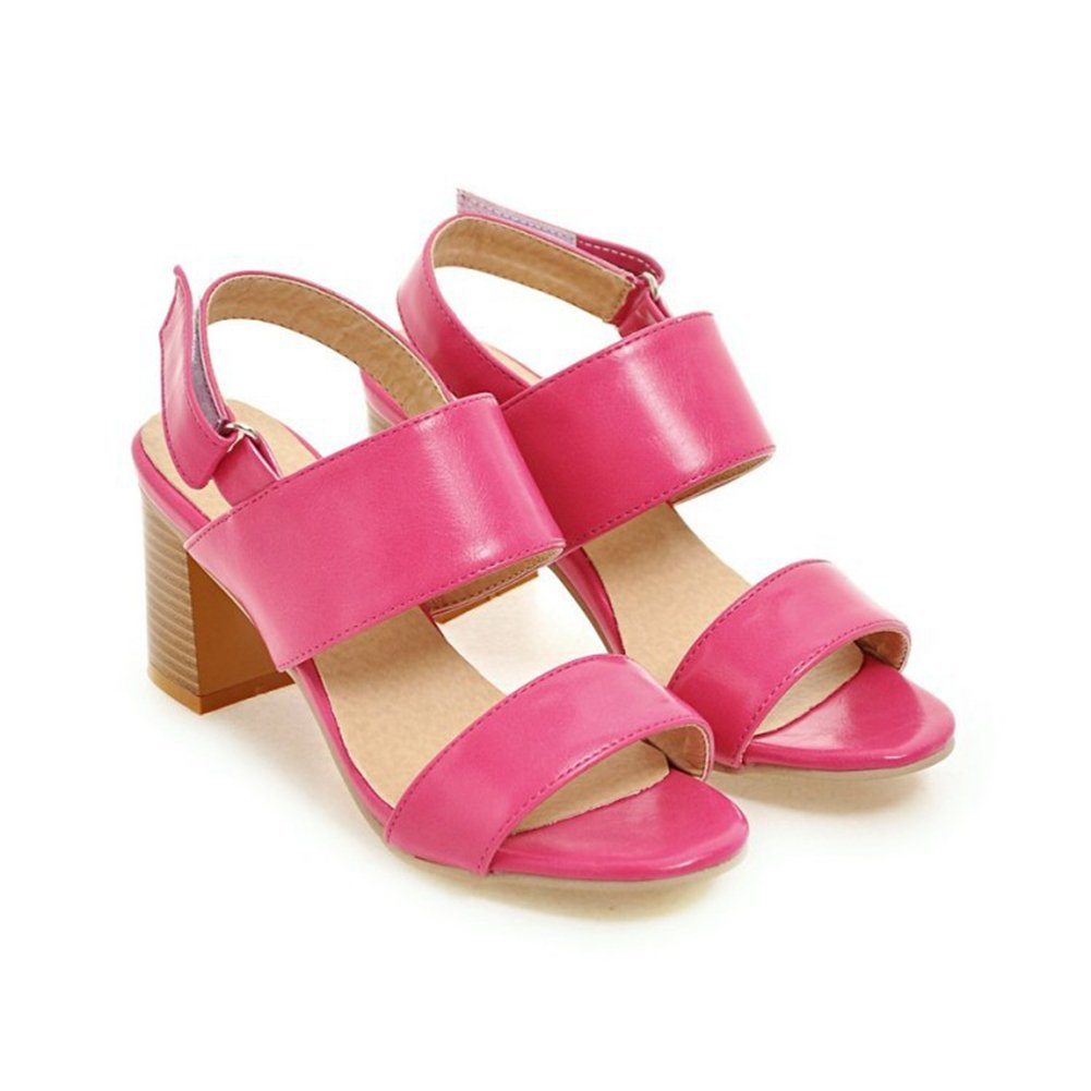 pink-red Women's Open Toe Heeled Sandals Fashion Belt Buckle Chunky Block Heel Wedges Summer Dress shoes