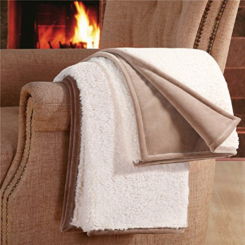 F&A Home Premium Quality Sherpa Throw Ultra Soft Warm Fluffy Faux Sheepskin Heavyweight Blanket for Bed or Couch,50