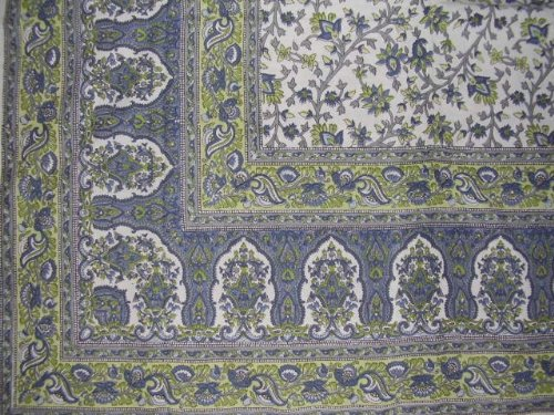 Turkish Floral Tapestry Cotto Bedspread 108'' x 88'' Full-Queen Blue by Homestead