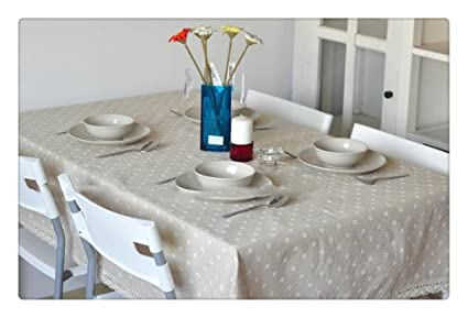 White Floret Point Flax Machine Washable Tablecloth Kitchen Tablecloth For  Dinner,Parties, Summer U0026