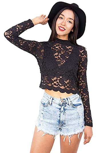 a767a221305 Amazon.com  Ambiance Women s Juniors Cropped Lace Long Sleeve Top  Shoes