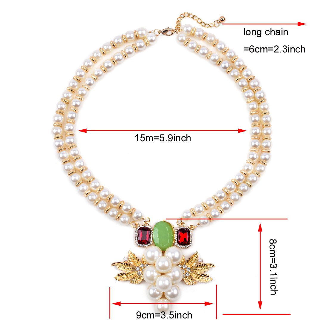 Huan Xun Womens Frutable Grape Pearl Statement Necklace