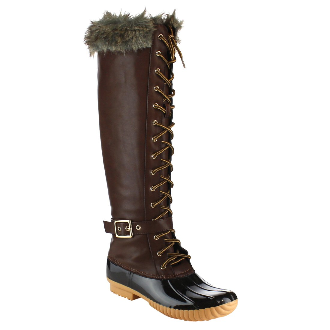 Women's Knee High Winter Boots Lace up Insulated Fur Cuff Trim Waterproof Rubber Sole Duck Snow Rain Shoe Boots B074FVNBHP 6 B(M) US|Brown Pvc