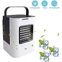 AOOPOO Luftkühler Ventilator Mobiles Klimagerät Mini Air Cooler 4 in 1 Raumluftkühler Luftreiniger Klimageräte mit Wasserkühlung Zimmer Klimaanlage Ventilator USB ohne Abluftschlauch für Büro Garage Haus Camping