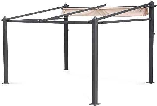 Alices Garden - Pérgola de Pared de Aluminio, 3 x 4 m, Lona Beige, cenador Ideal para su terraza, Techo retráctil, Tela Deslizante, Estructura de Aluminio: Amazon.es: Jardín