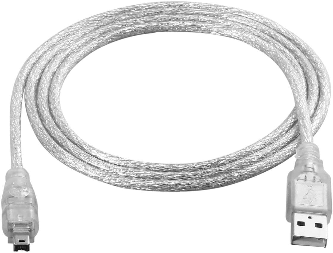 1.2m USB 2.0 Male to Firewire iEEE 1394 4 Pin Male iLink Adapter Cable Male to Male Cable Light White Flexible Cable