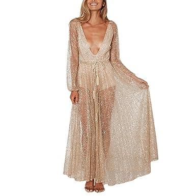 iYmitz Damen Mode Beiläufig V-Ausschnitt Pailletten Schwarz Spitze Knielang Solide Mesh Perspektive Langes Kleid Partykleider