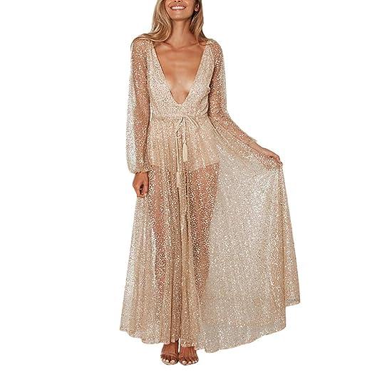 NEWONESUN Women s Sparkle Glitzy Glam Deep V Neck Sequin Lace Soild Mesh  Serspective Long Dress Party Club Dresses Cocktail at Amazon Women s  Clothing store ... a8fc534d9