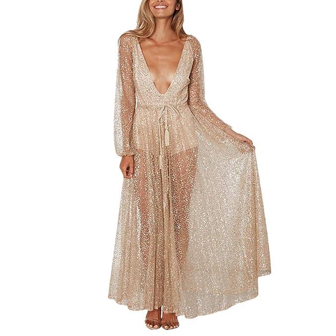 165ea426db68 iYmitz Damen Mode Beiläufig V-Ausschnitt Pailletten Schwarz Spitze Knielang  Solide Mesh Perspektive Langes Kleid