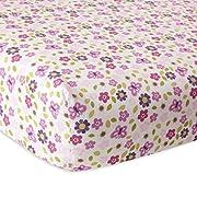 Lambs & Ivy Hopscotch Jungle Floral Crib Sheet, Pink/Purple/White