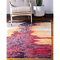 Unique Loom Estrella Collection Modern Abstract Orange Area Rug (3 x 5)
