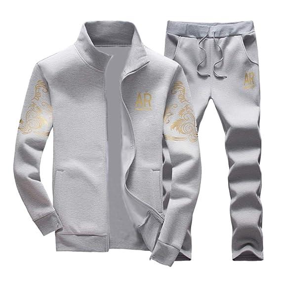 eede18c8b0 Homme Survêtement Ensemble Pantalon De Sport + Sweat-Shirt Veste Jogging  Manches Longues Gris S
