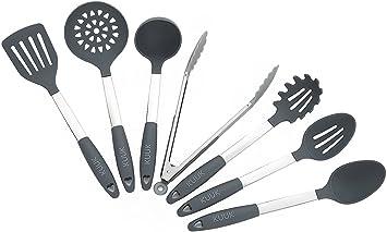 Set d'ustensiles de cuisine KUUK- Acier Inoxydable & Silicone - Sans on