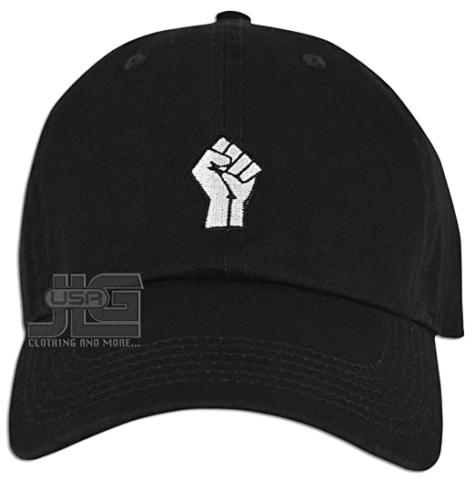 099422c209 JLGUSA Power Fist Hat Dad Embroidered Cap Polo Style Baseball Curved  Unstructured Bill (Black)
