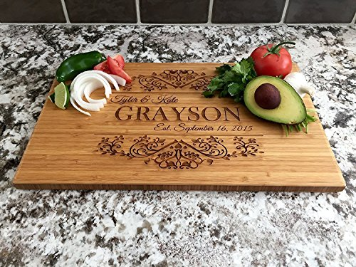 Personalized Wedding Gifts Cutting Board - Wood Cutting Boards, Also Bridal Shower and Housewarming Gifts (11 x 17 Single Tone Bamboo Rectangular, Grayson Design)