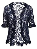 ELESOL Women's Casual Lace Crochet Cardigan 3 4 Sleeve Sheer Cover up Jacket Navy Blue XXL