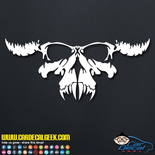 Freaking Creepy Skull Decal Vinyl Decal Sticker for Car Truck Window Laptop MacBook Wall Cooler Tumbler, Die-Cut/No Background, Multiple Sizes and Colors, 8-Inch, -