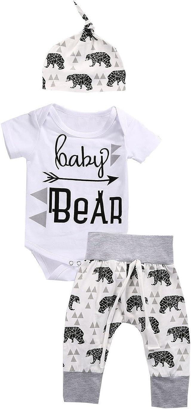 3Pcs Newborn Kids Baby Boy Outfit Clothes Romper Jumpsuit Bodysuit+Pants Hat Set