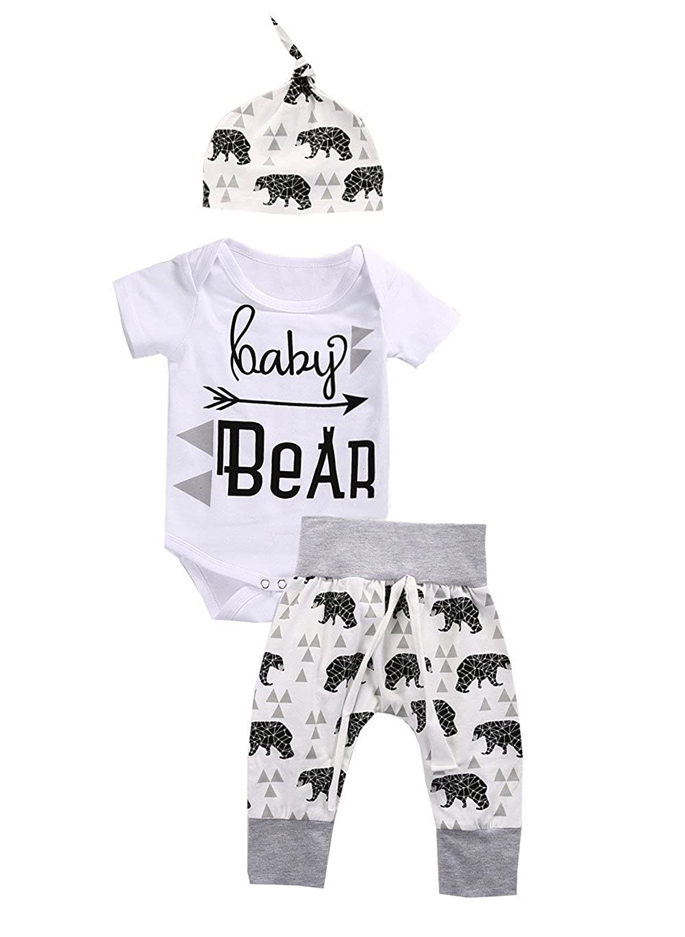Newborn Baby Boys Girls Bear Bodysuit Romper + Long Pants + Hat Outfits Clothes Aliven