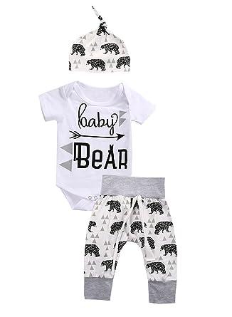 11f10b685 Amazon.com  Aliven 3Pcs Set Newborn Baby Boys Girls Bear Bodysuit ...
