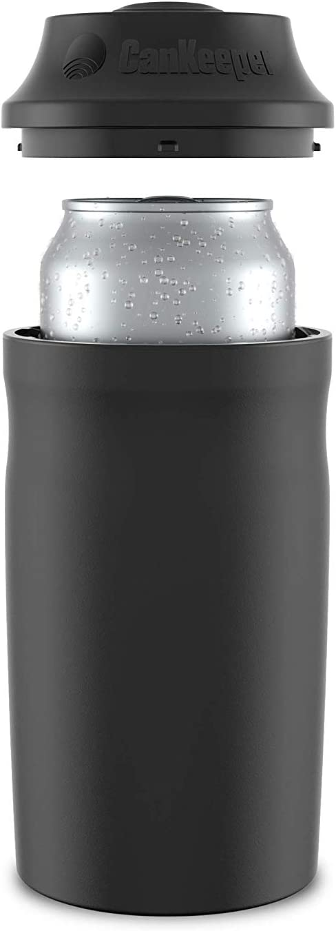 CanKeeper - Keep Your Can Cold For Hours - Double Walled and Vacuum Insulated Can Cooler - Lid Keeps Cold In, Dirt Out - FITS STANDARD 12oz CANS ONLY - Black
