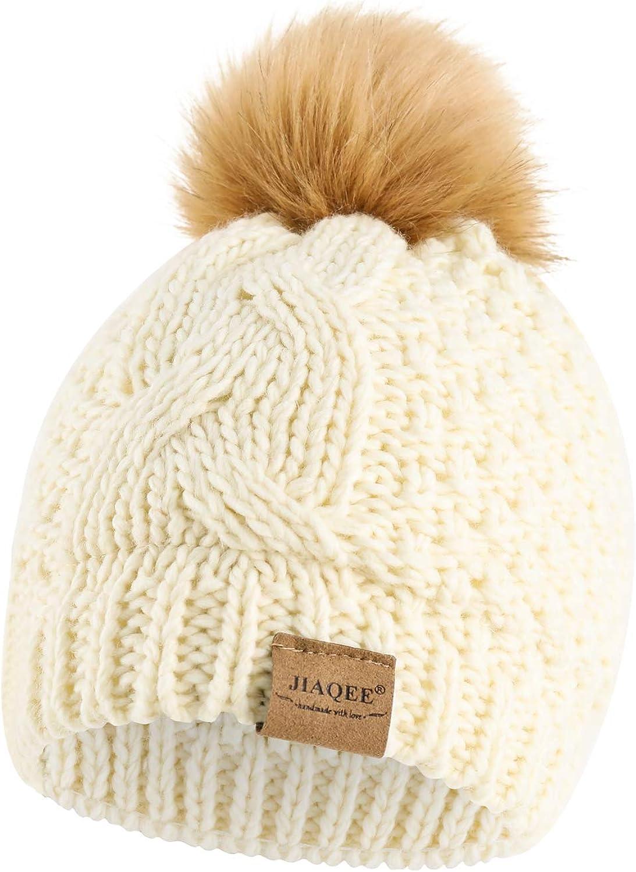 Toddler Beanie Pompom Hat Knitted Infant Baby Boys Girls Winter Hairball Cap for 6-36 Months