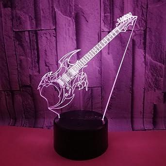 3D Guitarra Electrica ilusión Optica Lámpara Luz Nocturna 7 Colores Cambiantes Touch Switch USB de Suministro de Energía Juguetes Decoración Navidad ...