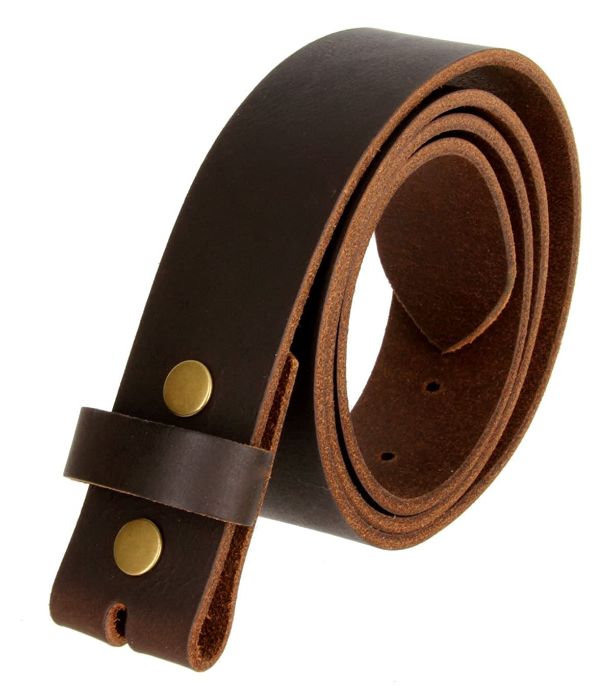 BROWN Belt Strap Snap On Solid Hide 100/% One Piece Leather Belt New Size 44