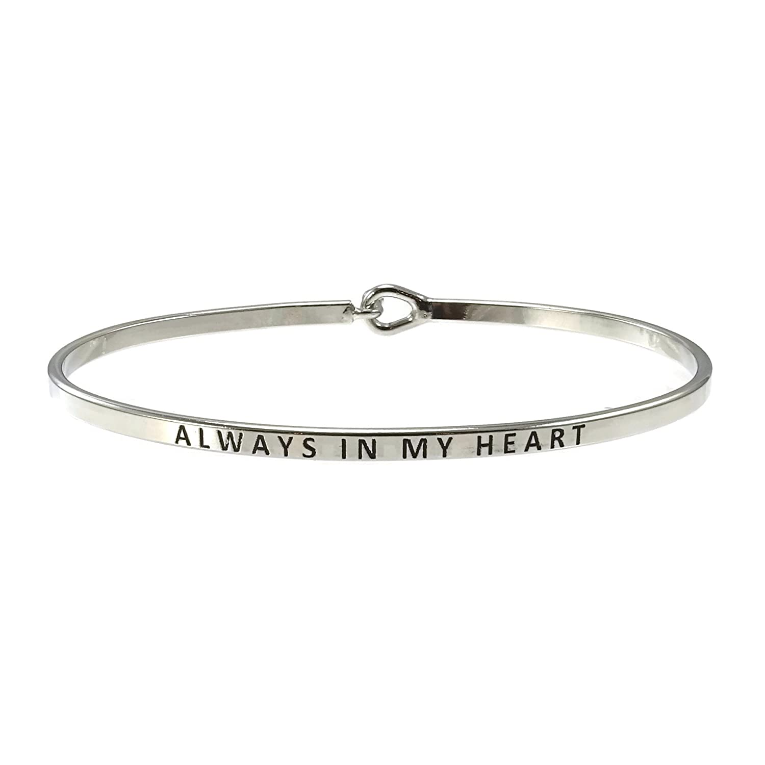 """Always In My Heart"" Inspirational Hook Bangle Bracelet"