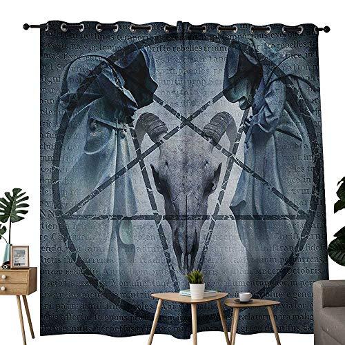 NUOMANAN Blackout Curtains 2 Panels Horror House,Artwork with Pentagram Icon Goat Skull Devil Dream Hooded Figure Exorcist Image,Blue,for Room Darkening Panels for Living Room, Bedroom 84